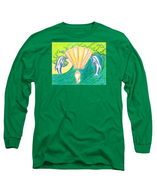 Long Sleeve T-Shirt featuring the drawing Lemuria Atlantis by Kim Sy Ok