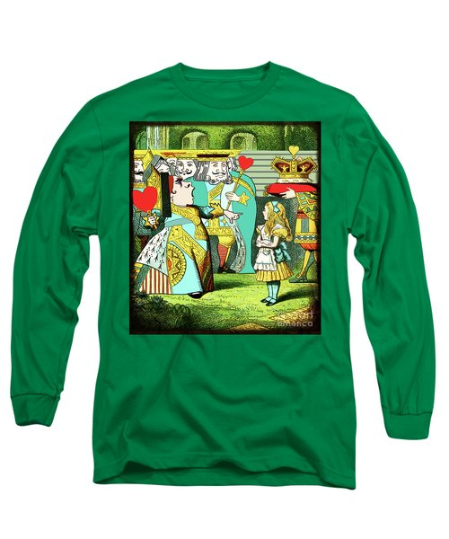 Lewis Carrolls Alice, Red Queen And Cards Long Sleeve T-Shirt by Marian Cates