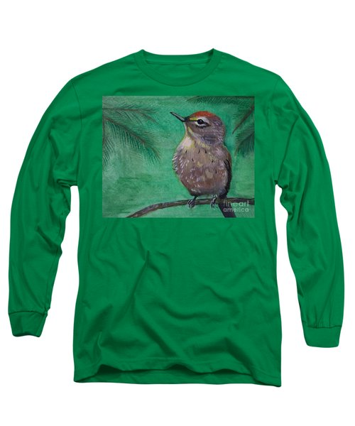 Long Sleeve T-Shirt featuring the painting Little Warbler by Leslie Allen