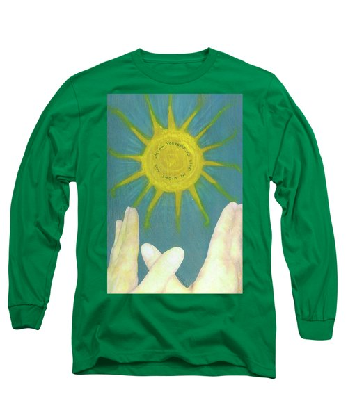Long Sleeve T-Shirt featuring the mixed media Live In Light by Desiree Paquette