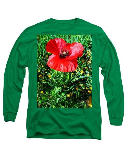 Lonely Poppy Long Sleeve T-Shirt by Don Pedro De Gracia