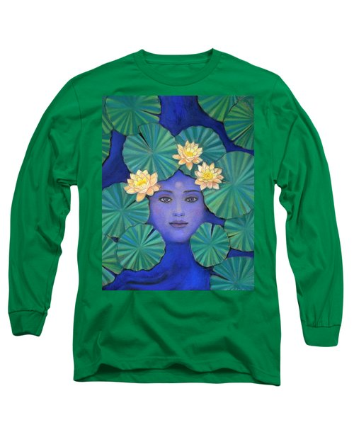 Long Sleeve T-Shirt featuring the painting Lotus Nature by Sue Halstenberg