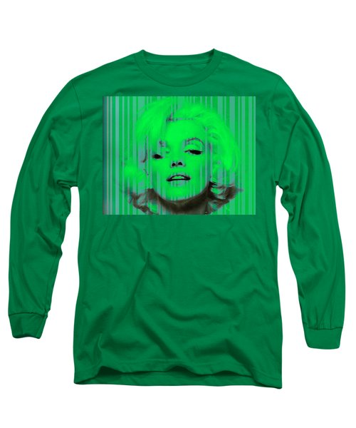 Marilyn Monroe In Green Long Sleeve T-Shirt by Kim Gauge