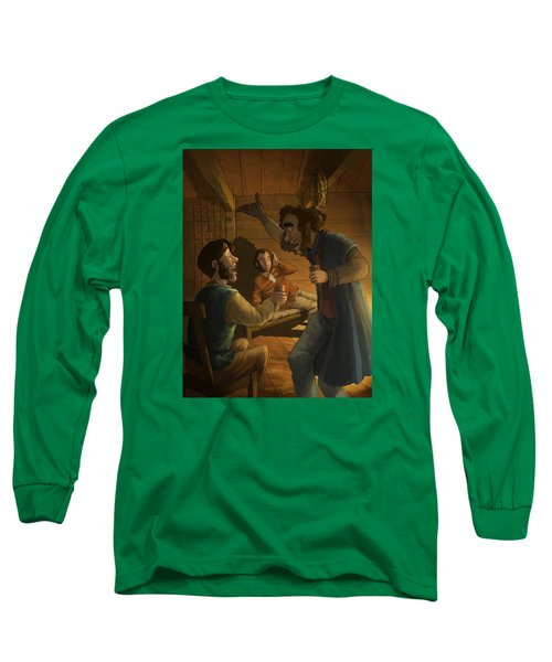 Men In A Hut Long Sleeve T-Shirt by Andy Catling