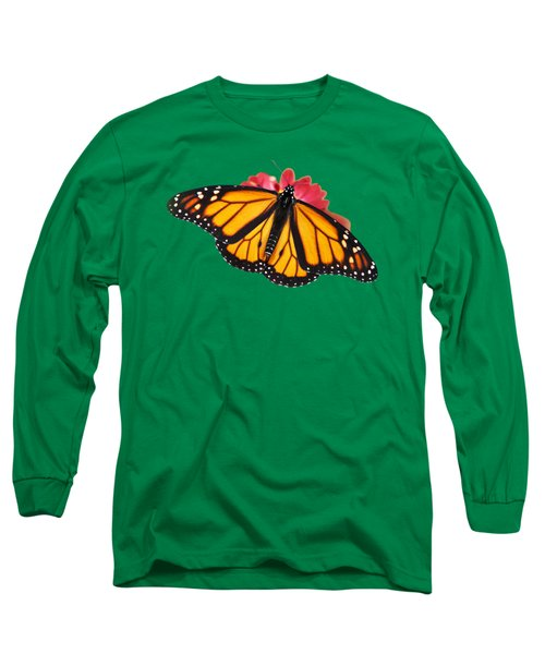Long Sleeve T-Shirt featuring the photograph Monarch Butterfly On Red Mums by Christina Rollo