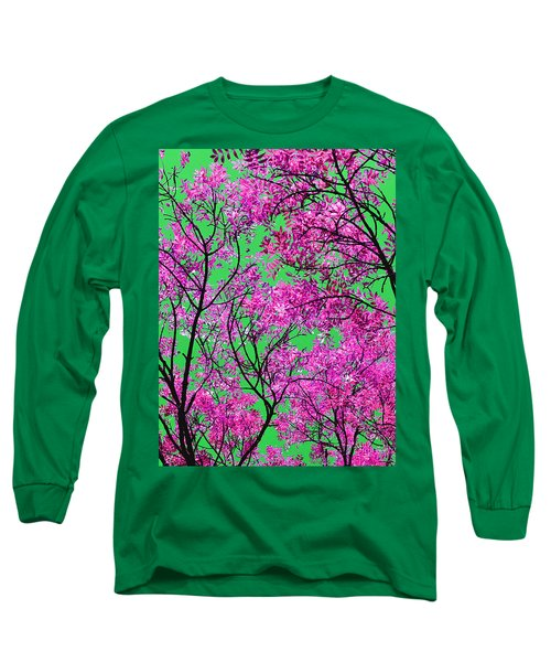 Long Sleeve T-Shirt featuring the photograph Natures Magic - Pink And Green by Rebecca Harman