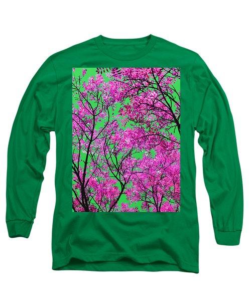 Natures Magic - Pink And Green Long Sleeve T-Shirt