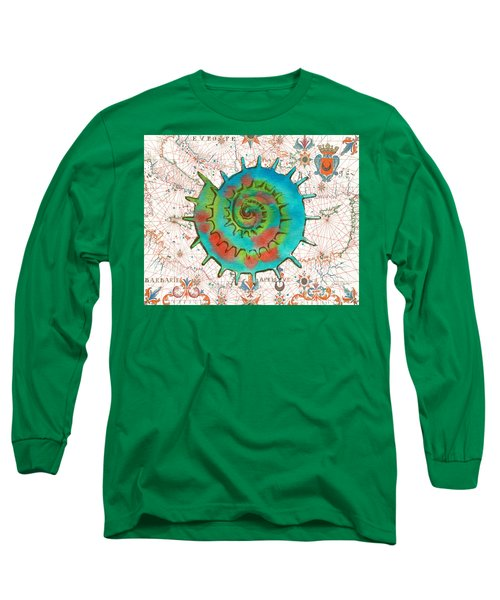 Long Sleeve T-Shirt featuring the painting Nautical Treasures-m by Jean Plout