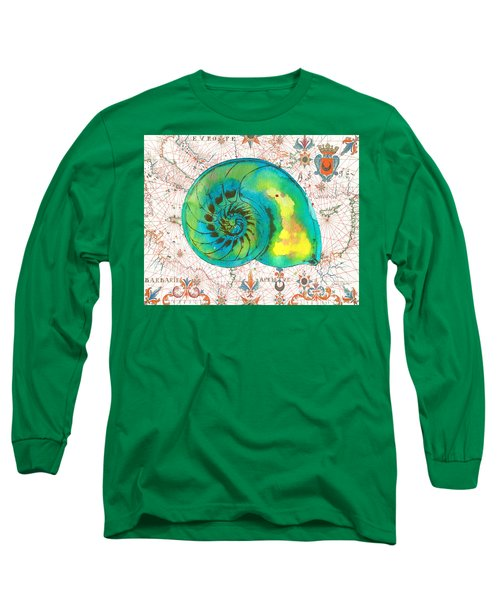 Long Sleeve T-Shirt featuring the painting Nautical Treasures-n by Jean Plout