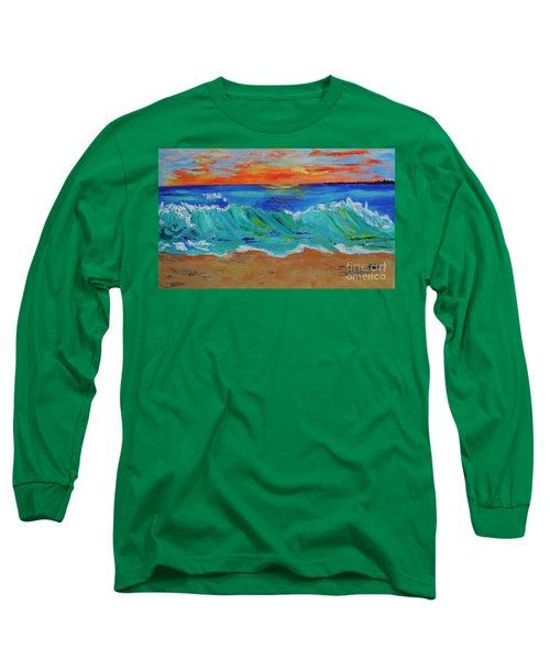 Long Sleeve T-Shirt featuring the painting Ocean Sunset by Haleh Mahbod