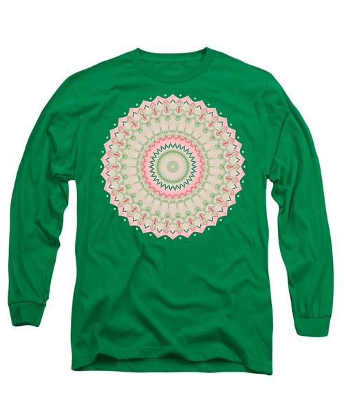 Pink And Green Mandala Fractal 004 Long Sleeve T-Shirt