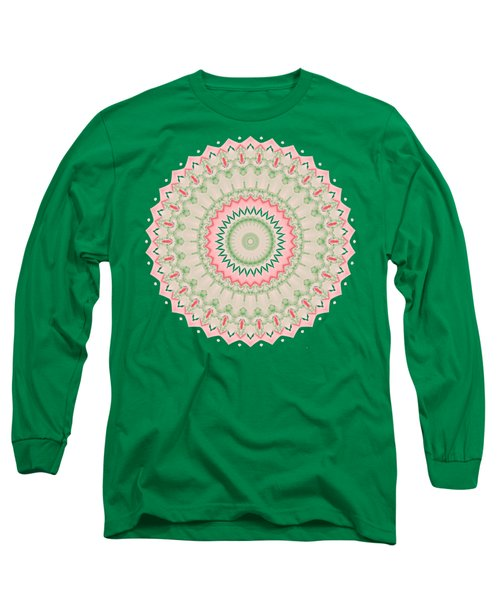Pink And Green Mandala Fractal 004 Long Sleeve T-Shirt