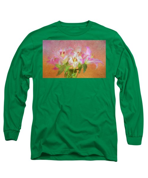 Long Sleeve T-Shirt featuring the photograph Pink And White Lilies by Bellesouth Studio