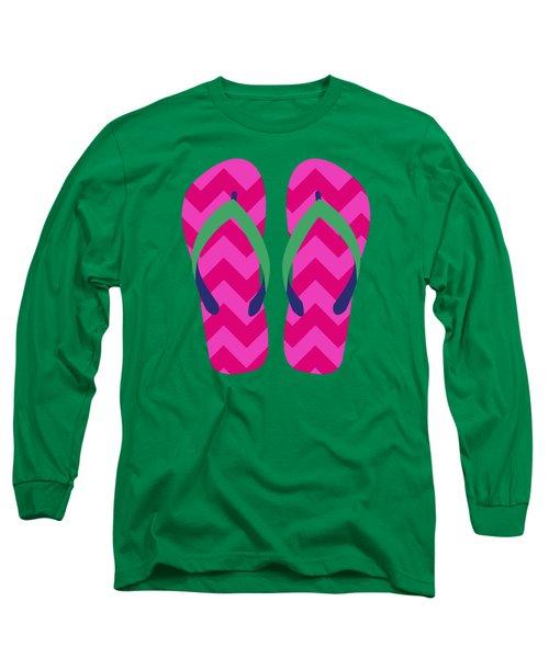 Long Sleeve T-Shirt featuring the digital art Pink Beach Sandals by Jennifer Hotai