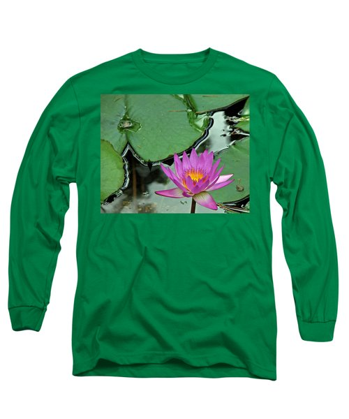 Long Sleeve T-Shirt featuring the photograph Pink Water Lily by Judy Vincent