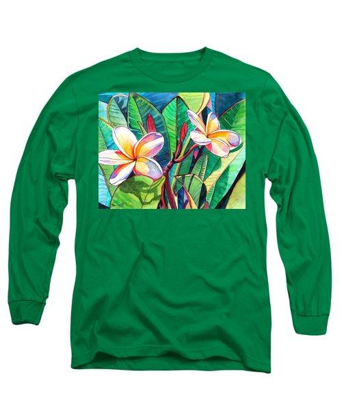 Plumeria Garden Long Sleeve T-Shirt by Marionette Taboniar