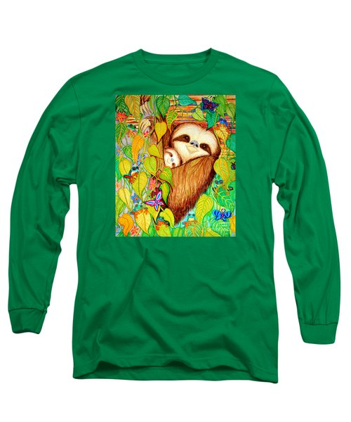 Rain Forest Survival Mother And Baby Three Toed Sloth Long Sleeve T-Shirt by Nick Gustafson