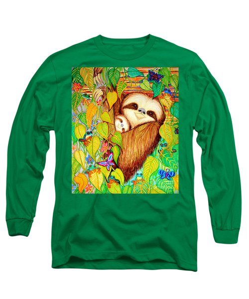 Rain Forest Survival Mother And Baby Three Toed Sloth Long Sleeve T-Shirt