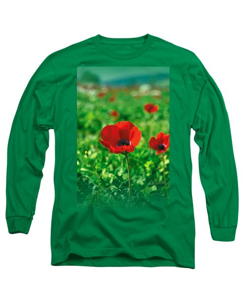 Red Anemone Coronaria T-shirt Long Sleeve T-Shirt