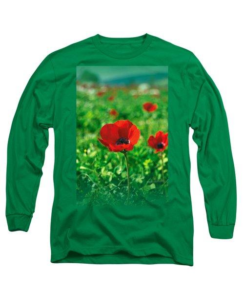Red Anemone Coronaria T-shirt Long Sleeve T-Shirt