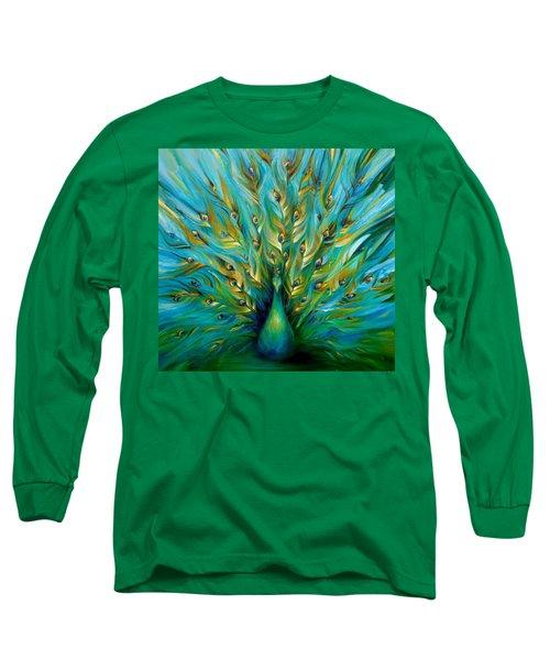 Regal Peacock Long Sleeve T-Shirt by Dina Dargo