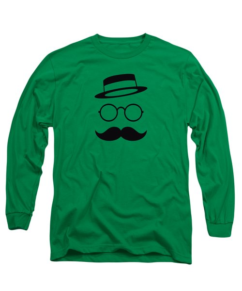 Retro Minimal Vintage Face With Moustache And Glasses Long Sleeve T-Shirt