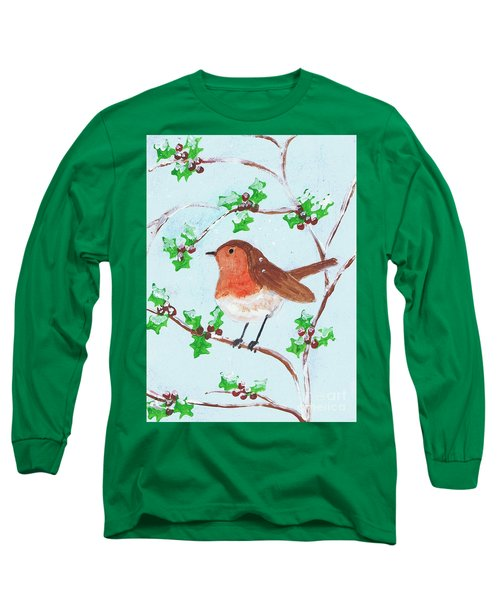 Robin In A Holly Bush Long Sleeve T-Shirt