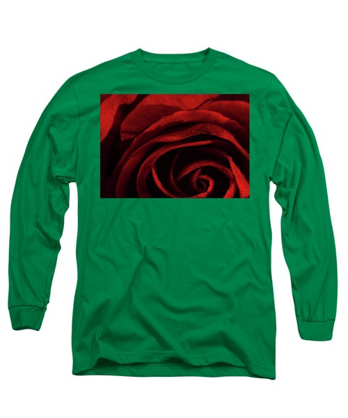 Long Sleeve T-Shirt featuring the digital art Rose Drops by Bliss Of Art