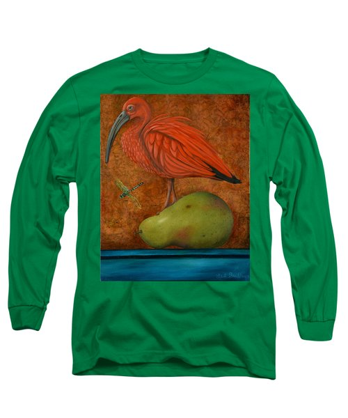 Scarlet Ibis On A Pear Long Sleeve T-Shirt