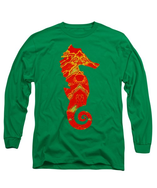 Long Sleeve T-Shirt featuring the mixed media Seahorse Turquoise And Orange Right Facing by Rachel Hannah