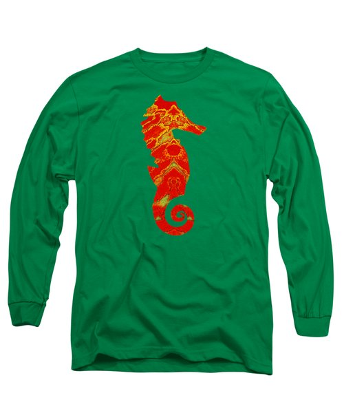 Seahorse Turquoise And Orange Right Facing Long Sleeve T-Shirt