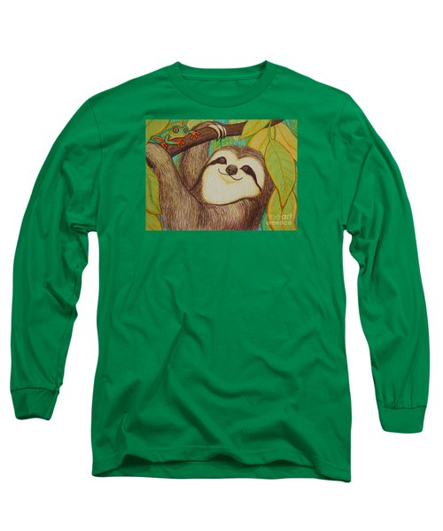 Sloth And Frog Long Sleeve T-Shirt by Nick Gustafson