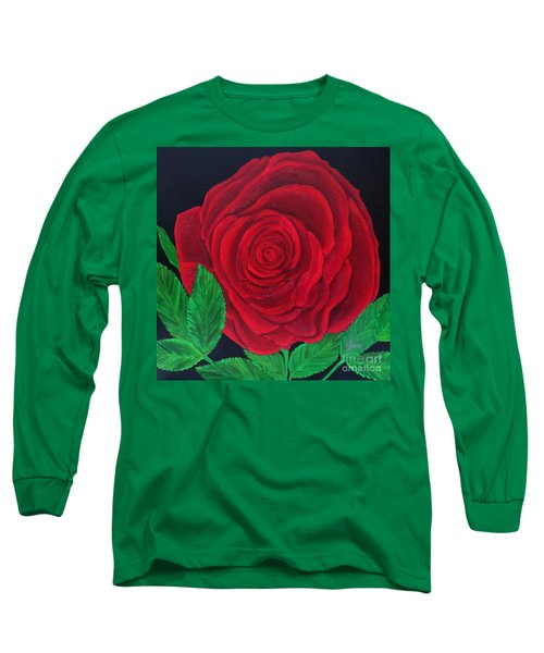 Solitary Red Rose Long Sleeve T-Shirt