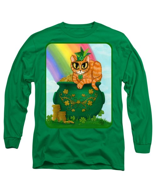 Long Sleeve T-Shirt featuring the painting St. Paddy's Day Cat - Orange Tabby by Carrie Hawks
