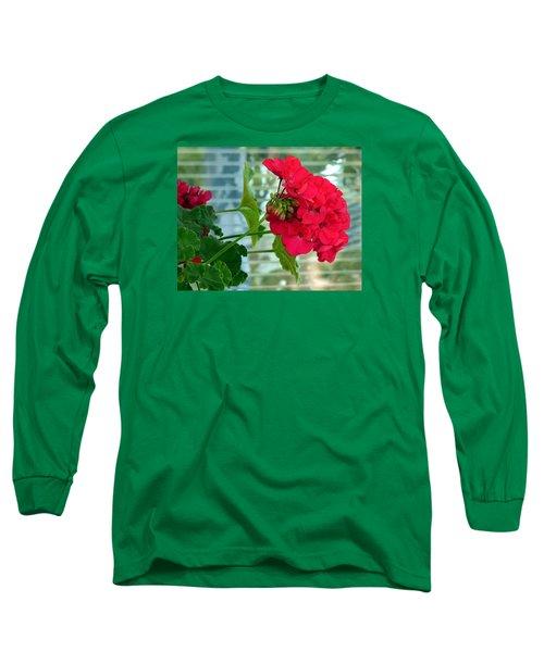 Stunning Red Geranium Long Sleeve T-Shirt by Will Borden