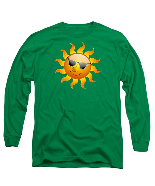 Long Sleeve T-Shirt featuring the digital art Sun With Sunglasses by Movie Poster Prints