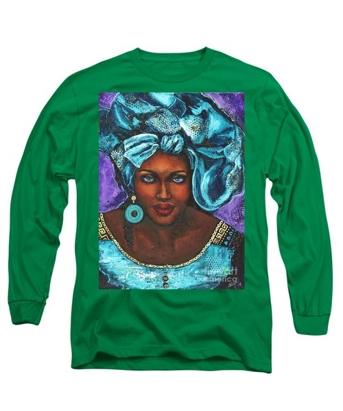 Long Sleeve T-Shirt featuring the painting Teal Headwrap by Alga Washington