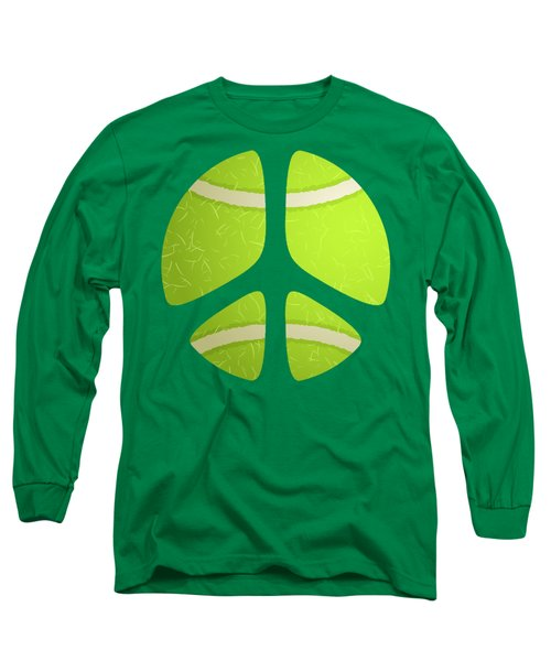 Tennis Ball Peace Sign Long Sleeve T-Shirt by David G Paul