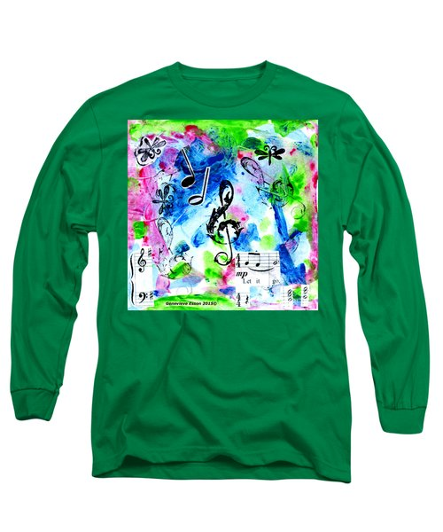 Long Sleeve T-Shirt featuring the mixed media Treble Mp by Genevieve Esson