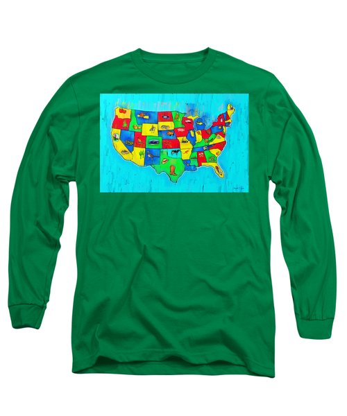 Us Map With Theme  - Free Style -  - Da Long Sleeve T-Shirt