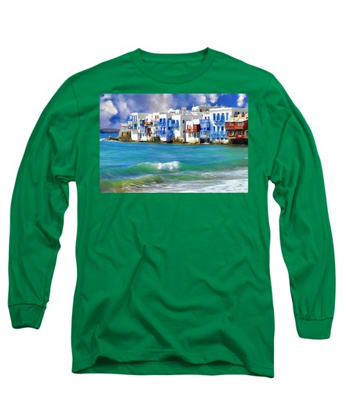 Waterfront At Mykonos Long Sleeve T-Shirt