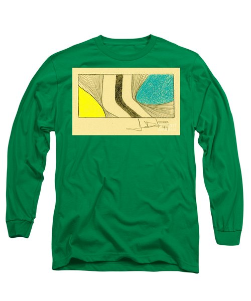 Waves Yellow Blue Long Sleeve T-Shirt