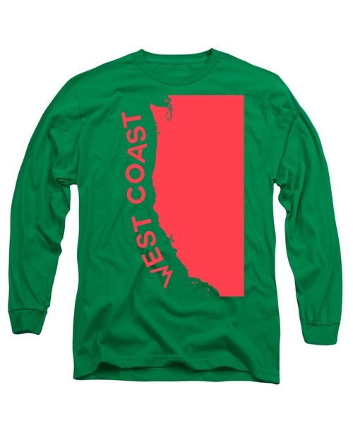 West Coast Pop Art - Coral Red On Teal  Long Sleeve T-Shirt