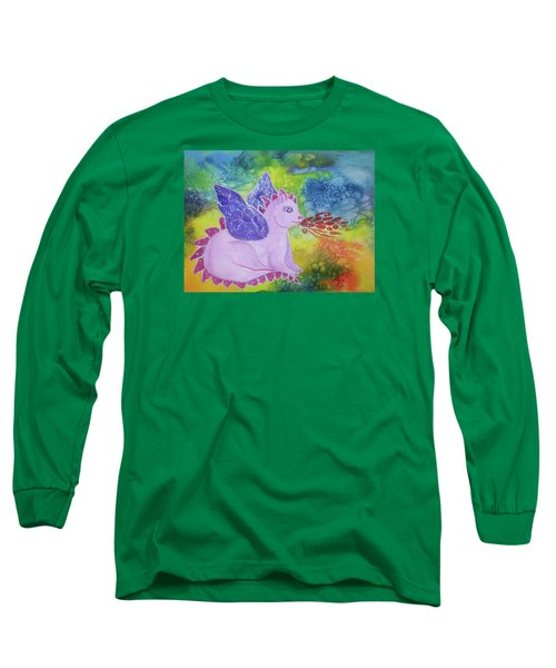 Long Sleeve T-Shirt featuring the painting Winged Dragon by Ellen Levinson