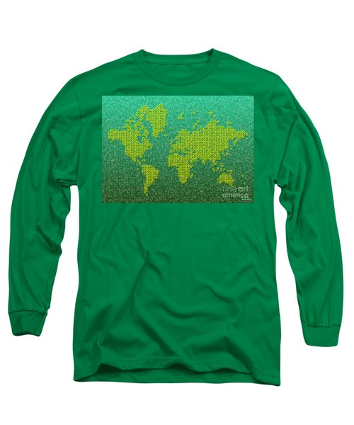 World Map Kotak In Green And Yellow Long Sleeve T-Shirt by Eleven Corners