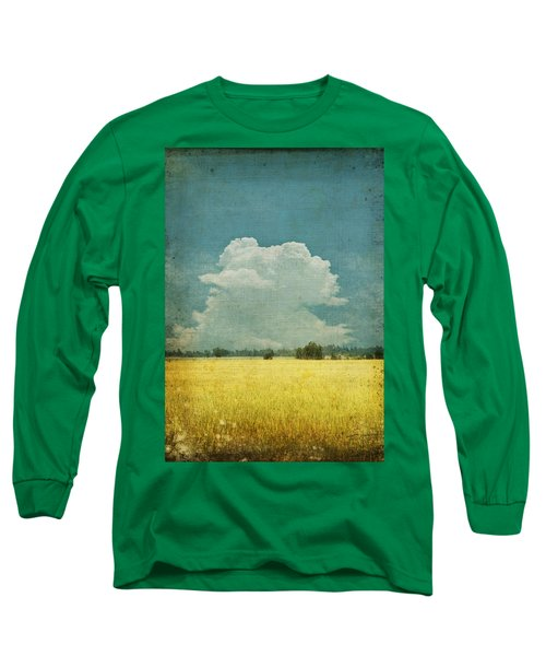 Yellow Field On Old Grunge Paper Long Sleeve T-Shirt