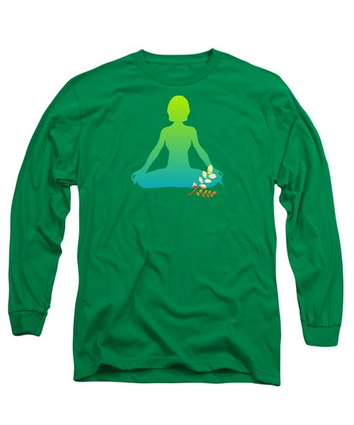 Yoga Meditation Pose Abstract Illustration Long Sleeve T-Shirt