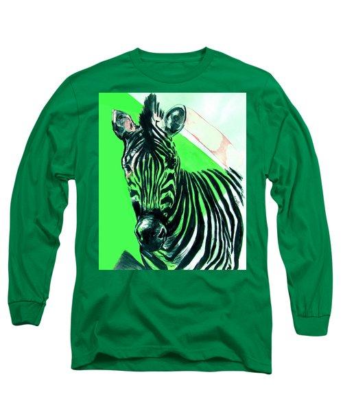 Zebra In Green Long Sleeve T-Shirt