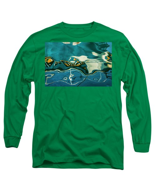 Long Sleeve T-Shirt featuring the photograph Abstract Boat Reflection V Color by David Gordon