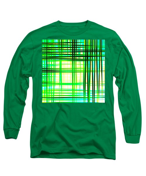 Abstract Design With Lines Squares In Green Color Waves - Pl409 Long Sleeve T-Shirt